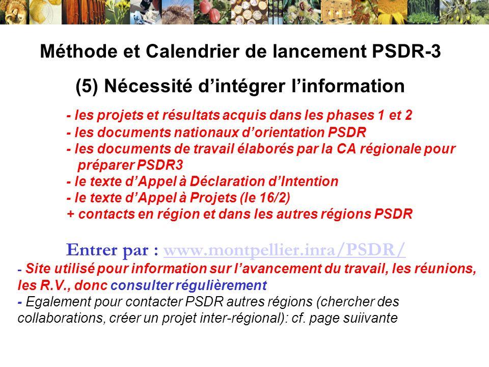Méthode et Calendrier de lancement PSDR-3