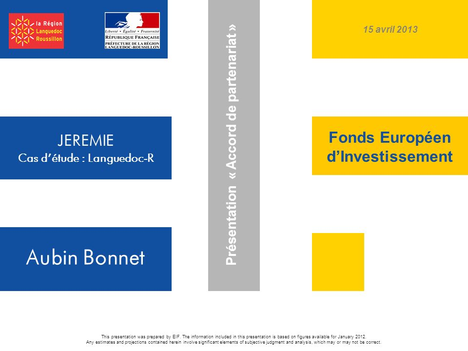 Fonds Européen d'Investissement JEREMIE