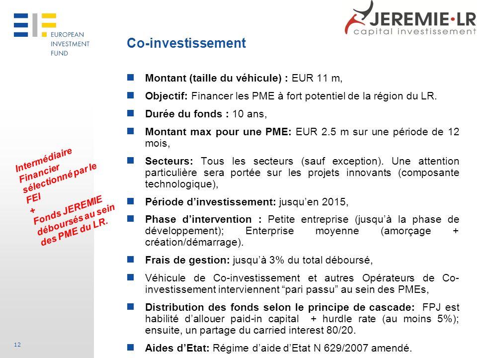 Co-investissement Montant (taille du véhicule) : EUR 11 m,