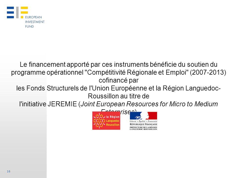 Le financement apporté par ces instruments bénéficie du soutien du programme opérationnel Compétitivité Régionale et Emploi (2007-2013) cofinancé par