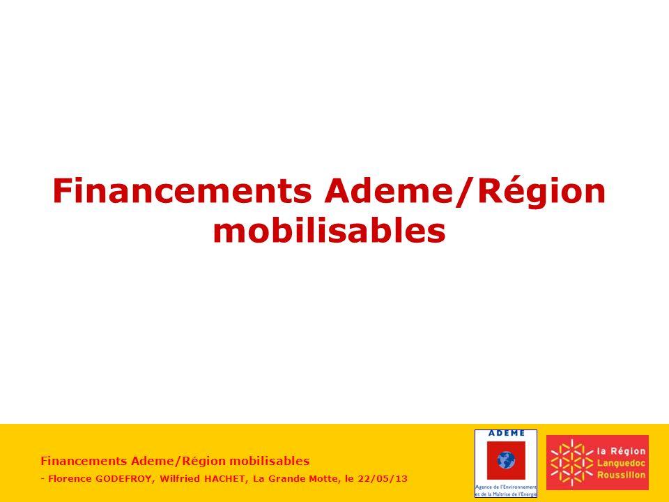 Financements Ademe/Région mobilisables