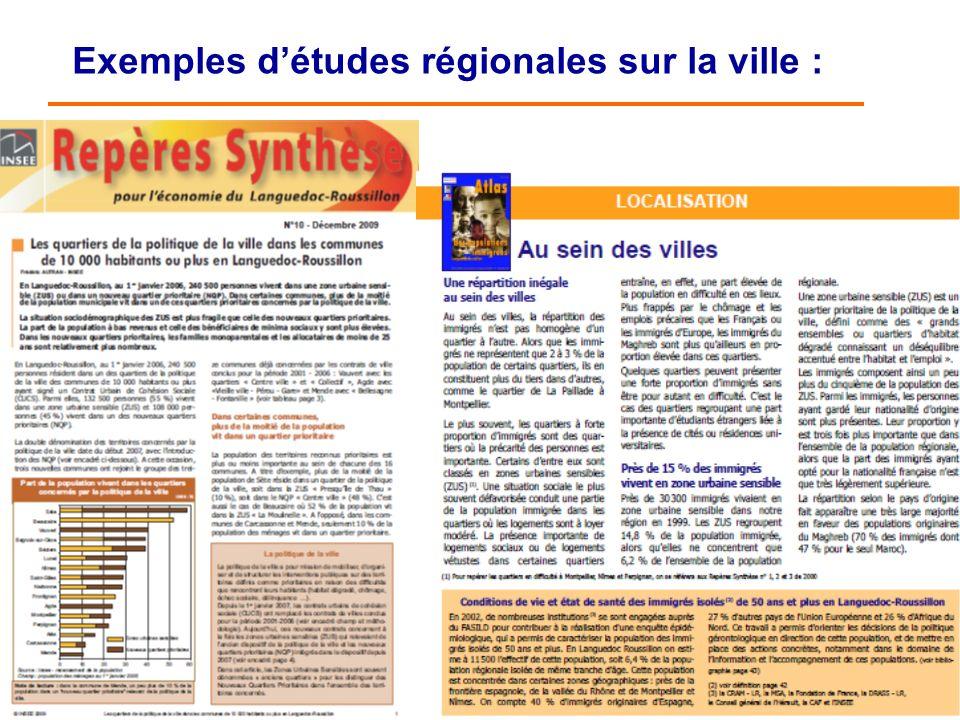 Exemples d'études régionales sur la ville :