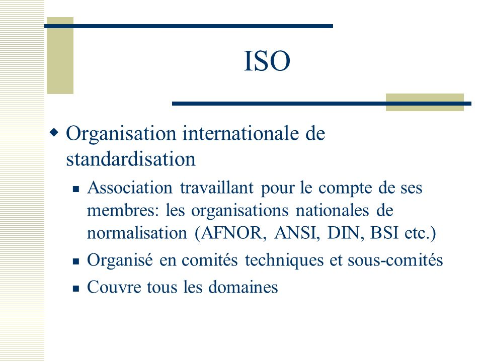 ISO Organisation internationale de standardisation