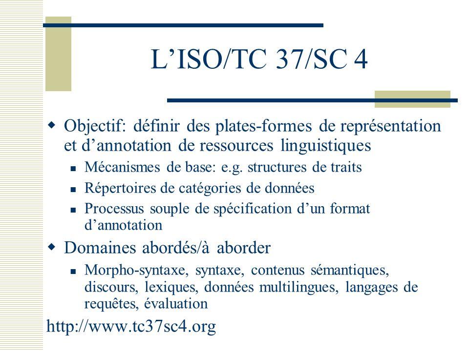 L'ISO/TC 37/SC 4 Objectif: définir des plates-formes de représentation et d'annotation de ressources linguistiques.