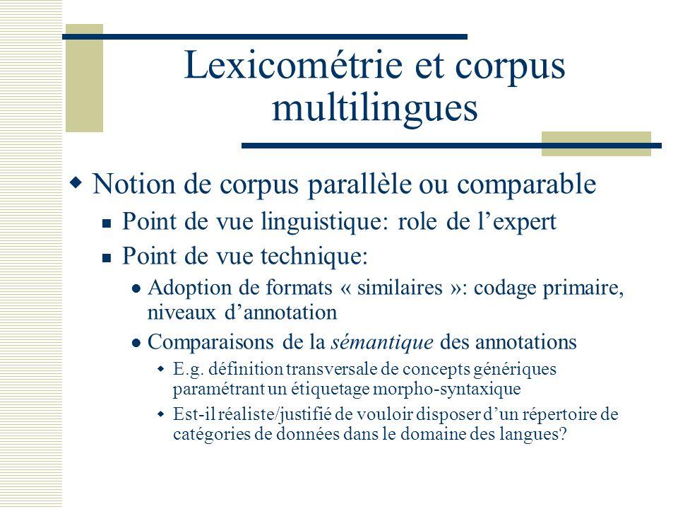 Lexicométrie et corpus multilingues