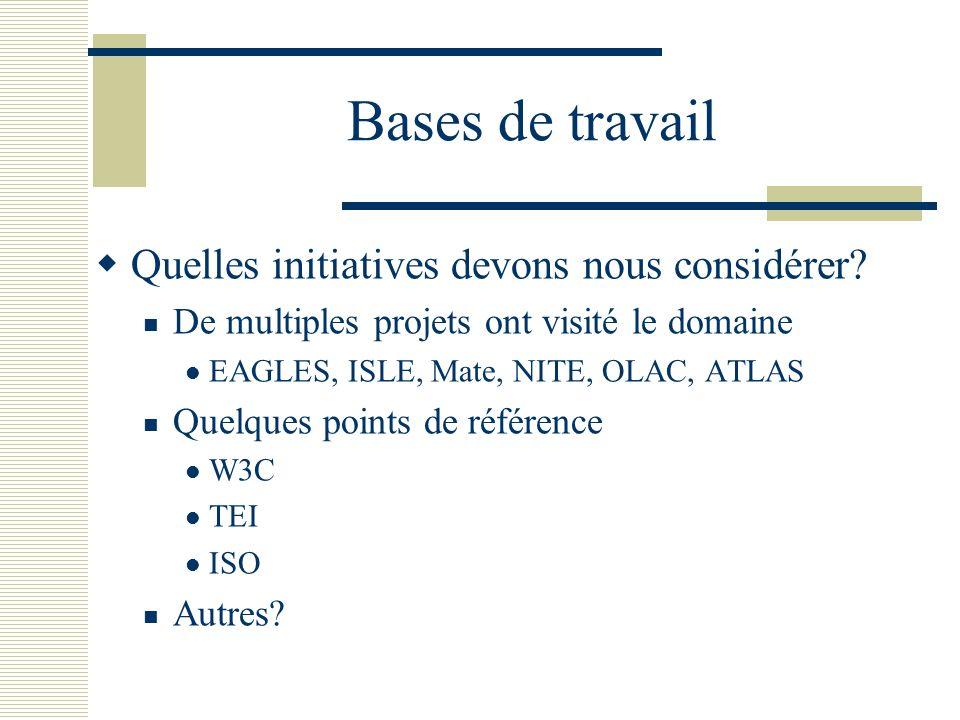Bases de travail Quelles initiatives devons nous considérer
