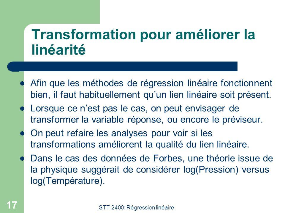 Transformation pour améliorer la linéarité