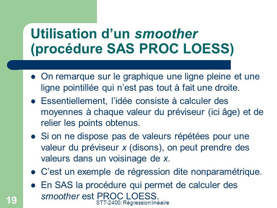 Utilisation d'un smoother (procédure SAS PROC LOESS)