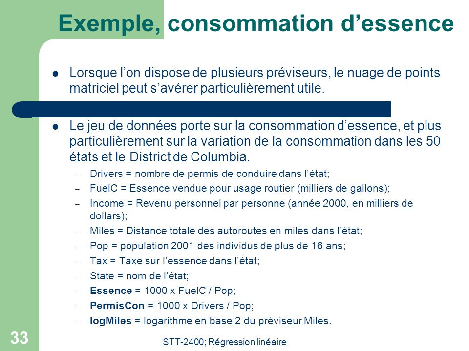 Exemple, consommation d'essence