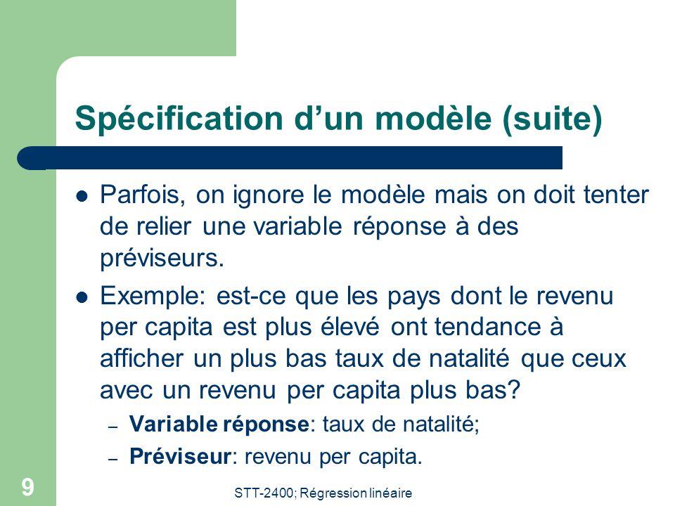 Spécification d'un modèle (suite)