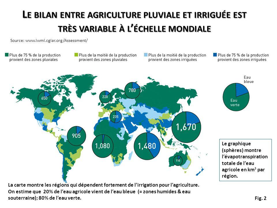 Le bilan entre agriculture pluviale et irriguée est très variable à l'échelle mondiale