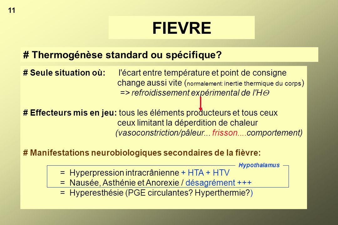 FIEVRE # Thermogénèse standard ou spécifique