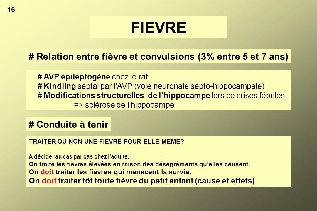 FIEVRE # Relation entre fièvre et convulsions (3% entre 5 et 7 ans)