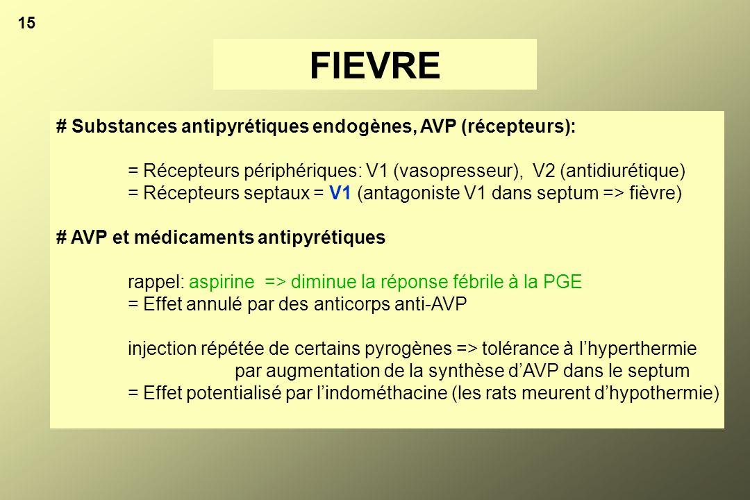 FIEVRE # Substances antipyrétiques endogènes, AVP (récepteurs):