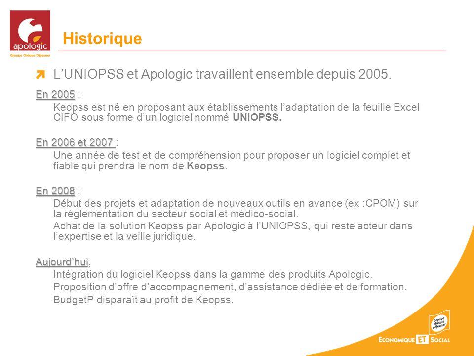Historique L'UNIOPSS et Apologic travaillent ensemble depuis 2005.