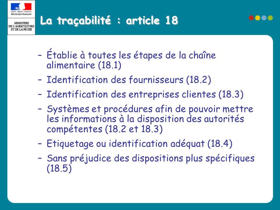 La traçabilité : article 18