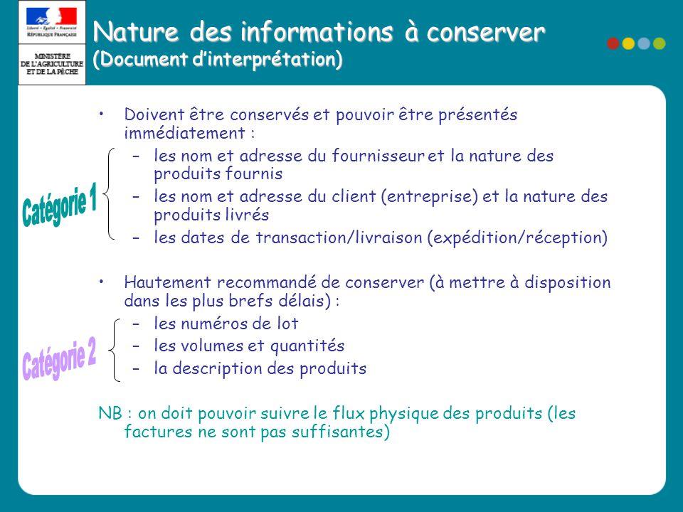 Nature des informations à conserver (Document d'interprétation)