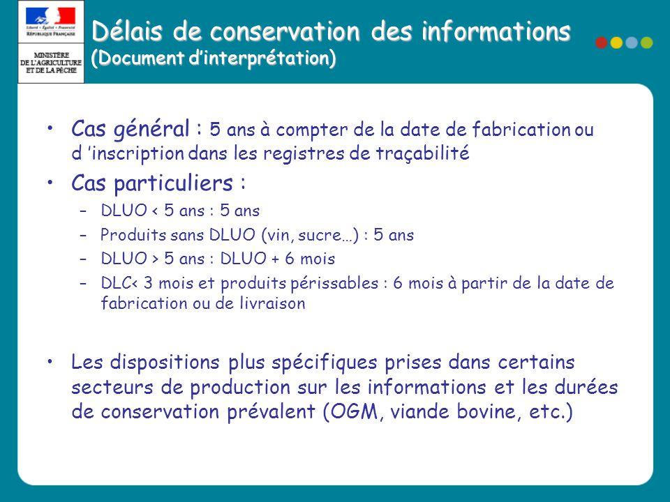 Délais de conservation des informations (Document d'interprétation)