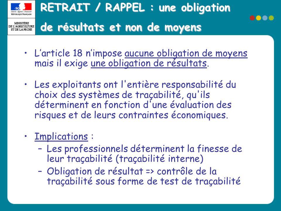RETRAIT / RAPPEL : une obligation de résultats et non de moyens