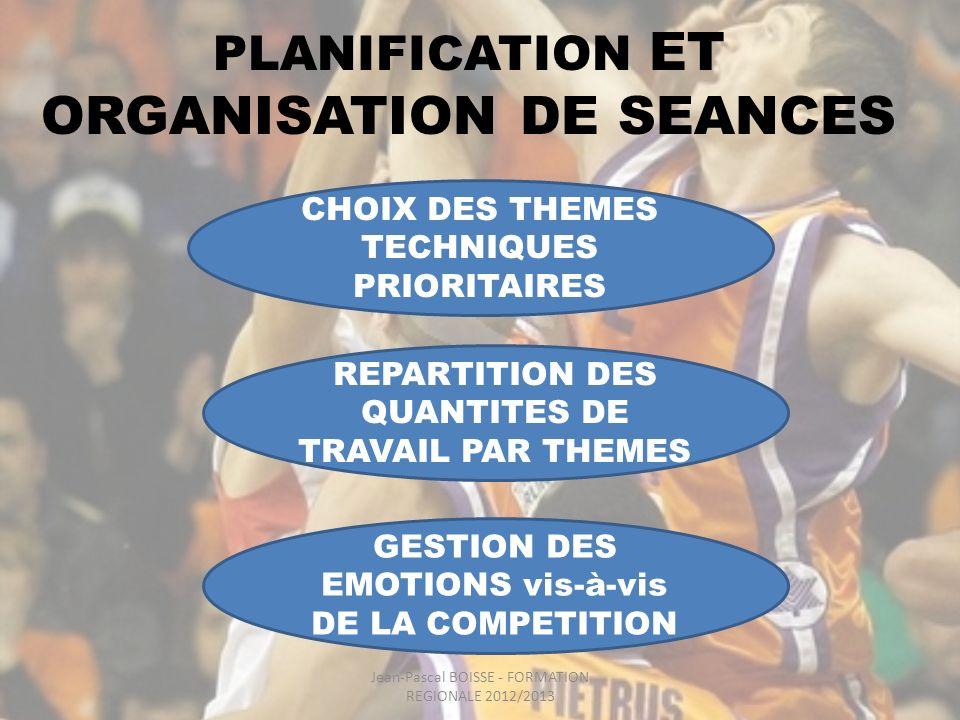 PLANIFICATION ET ORGANISATION DE SEANCES