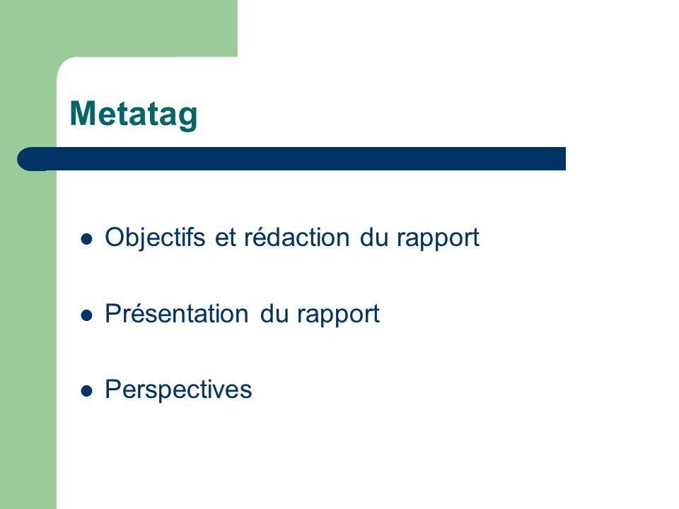 Metatag Objectifs et rédaction du rapport Présentation du rapport