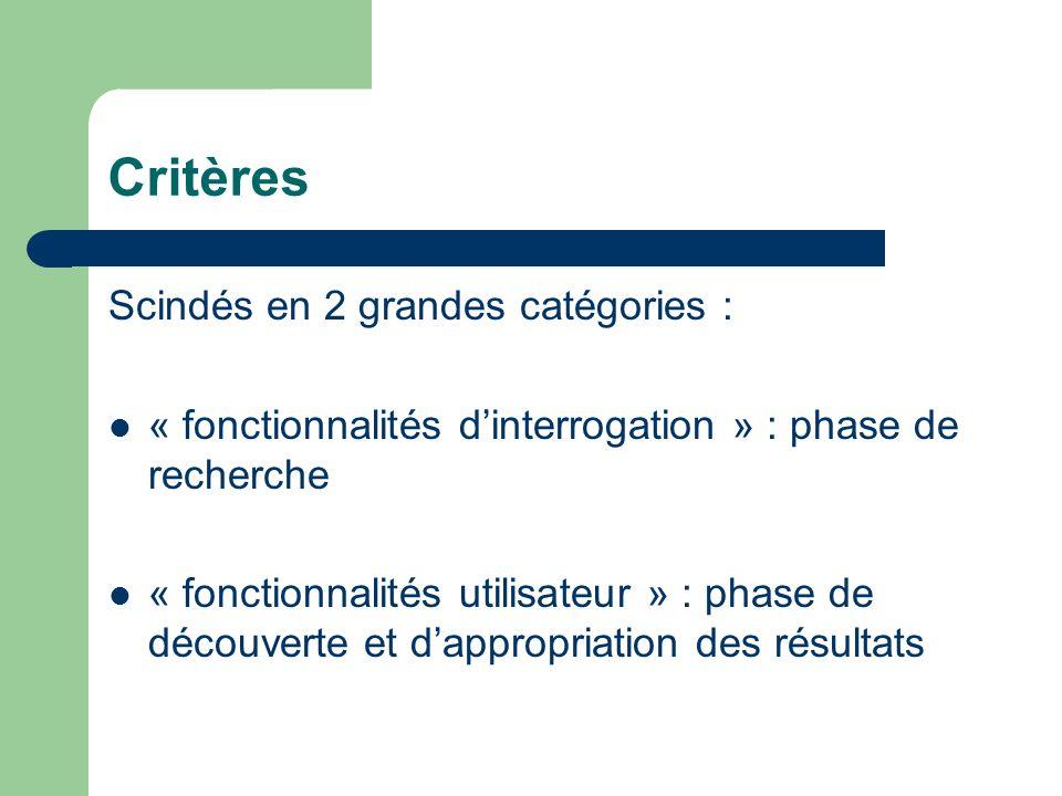 Critères Scindés en 2 grandes catégories :