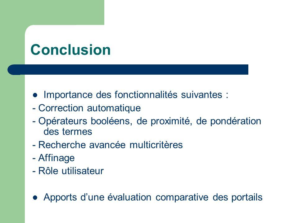 Conclusion Importance des fonctionnalités suivantes :