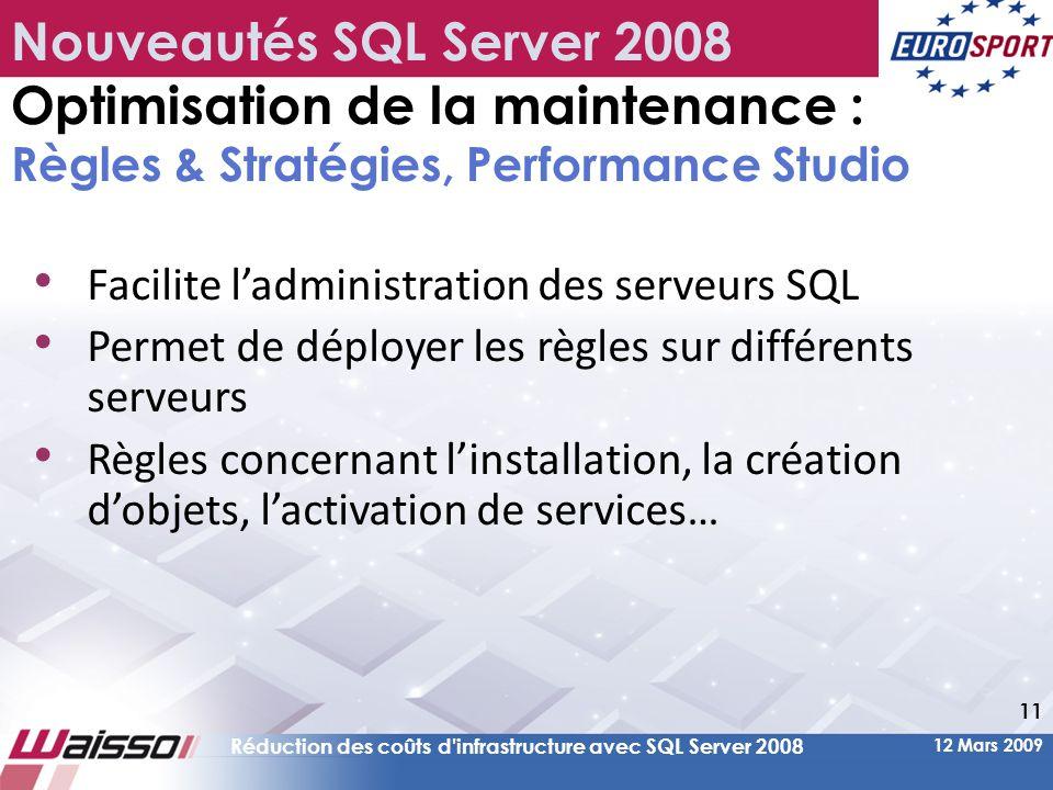Nouveautés SQL Server 2008 Optimisation de la maintenance : Règles & Stratégies, Performance Studio