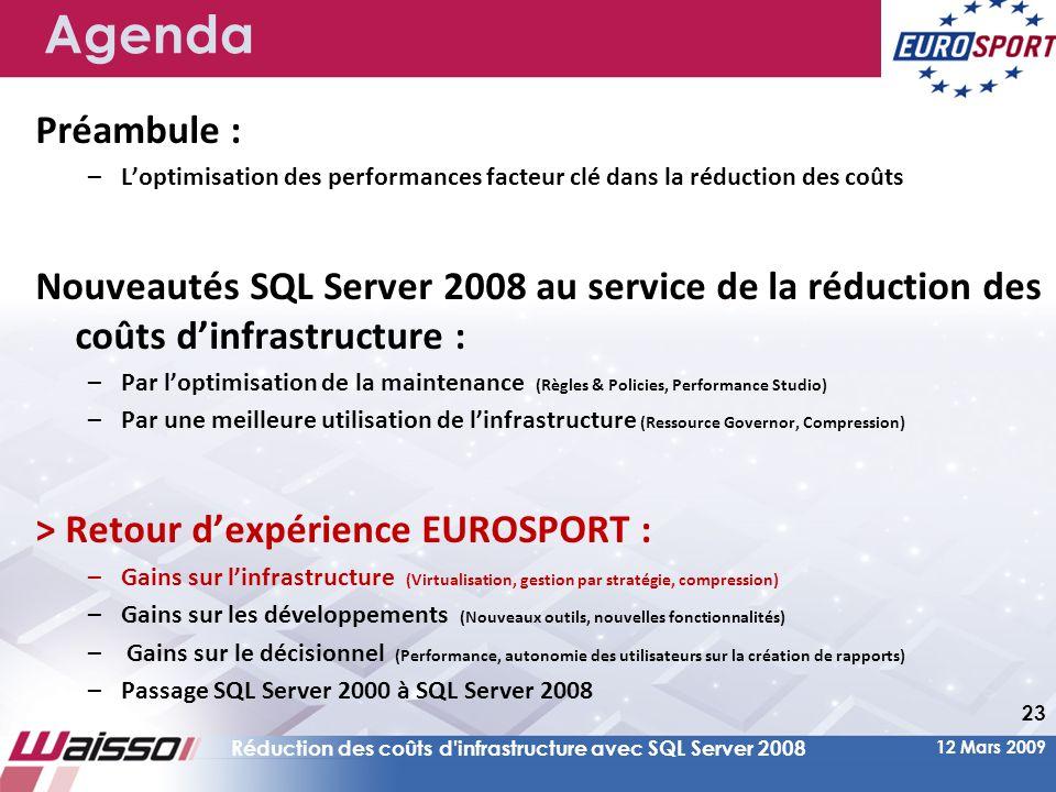 Agenda Préambule : L'optimisation des performances facteur clé dans la réduction des coûts.