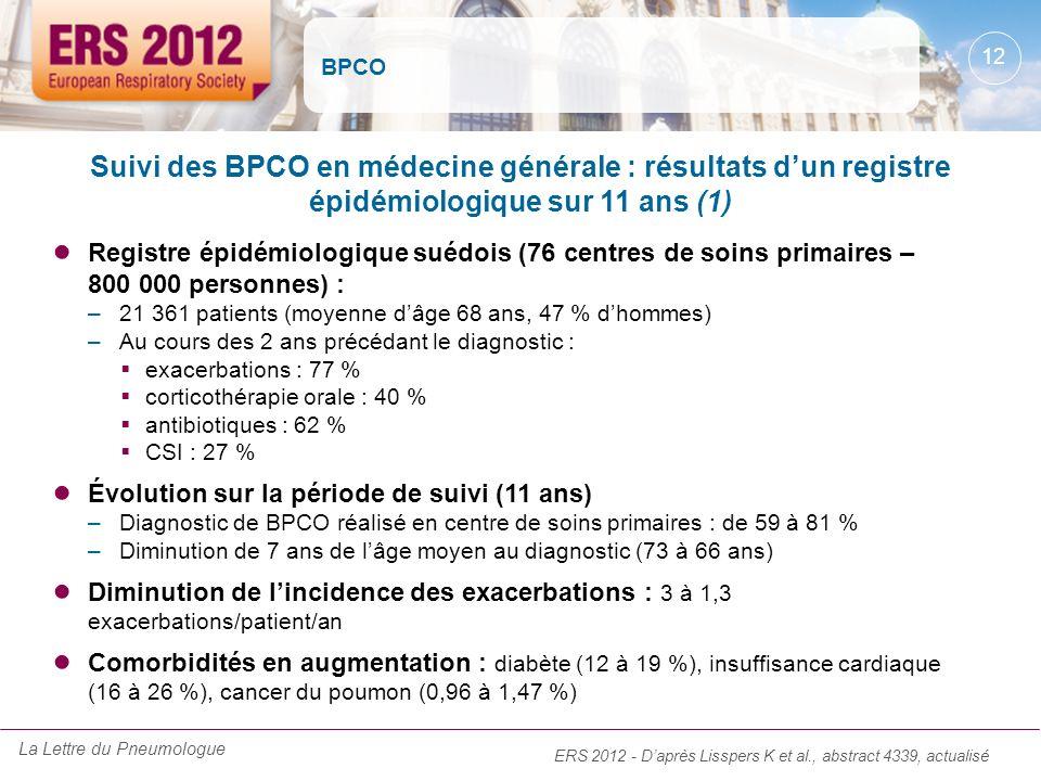 BPCO Suivi des BPCO en médecine générale : résultats d'un registre épidémiologique sur 11 ans (1)
