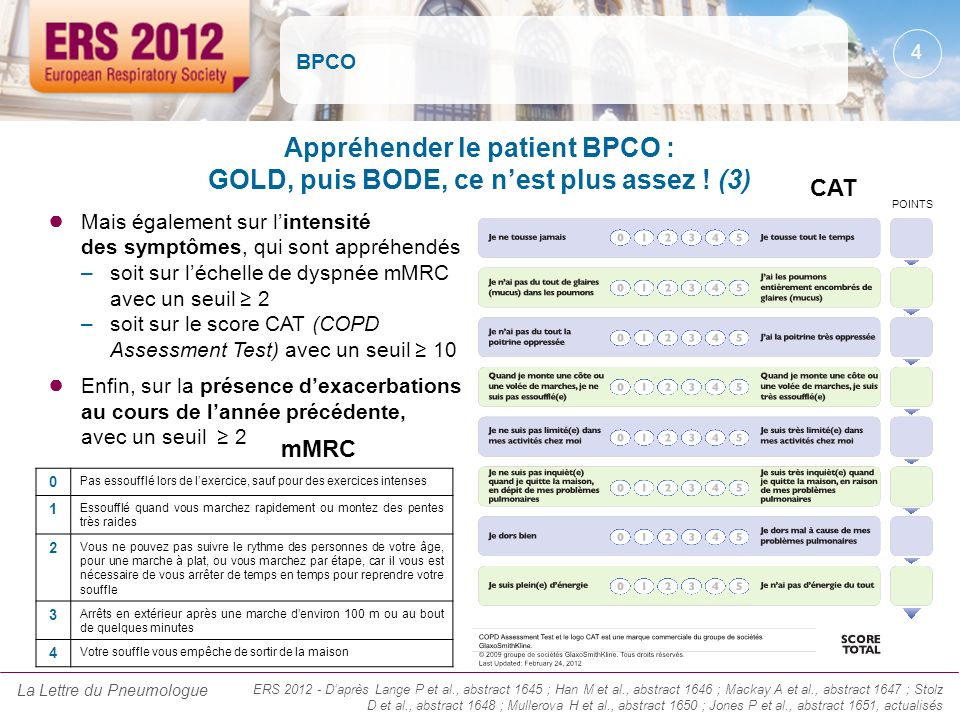BPCO Appréhender le patient BPCO : GOLD, puis BODE, ce n'est plus assez ! (3) CAT. POINTS.