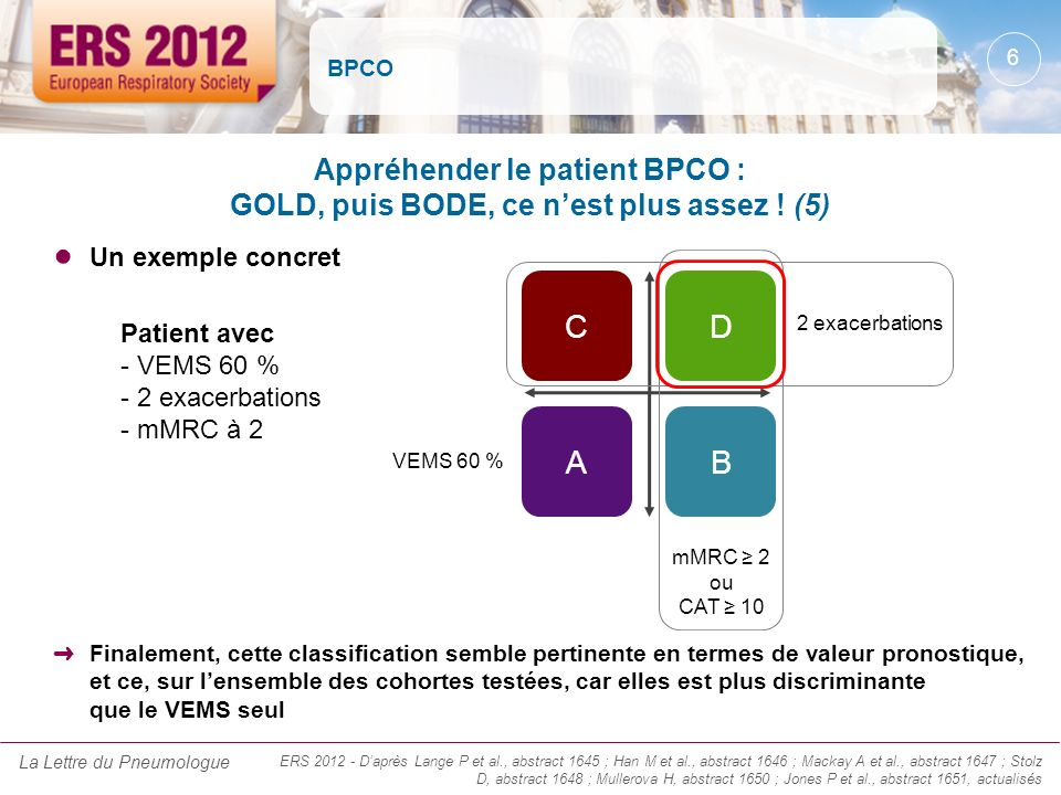 BPCO Appréhender le patient BPCO : GOLD, puis BODE, ce n'est plus assez ! (5) Un exemple concret. A.