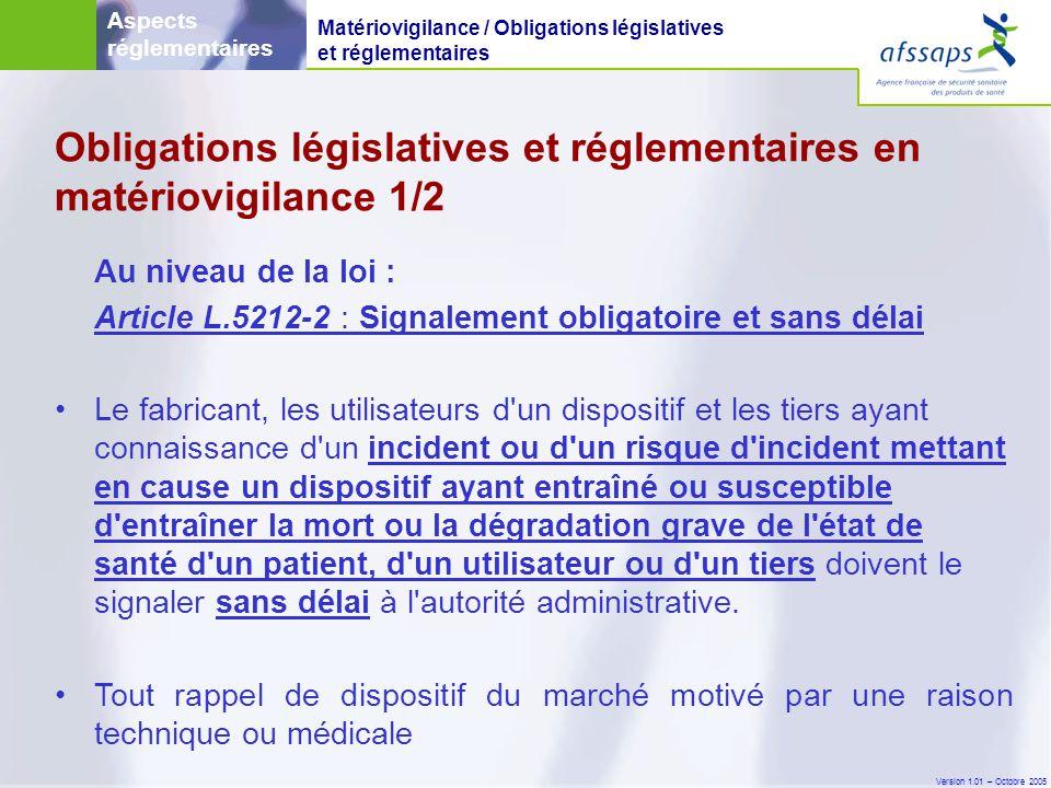 Obligations législatives et réglementaires en matériovigilance 1/2