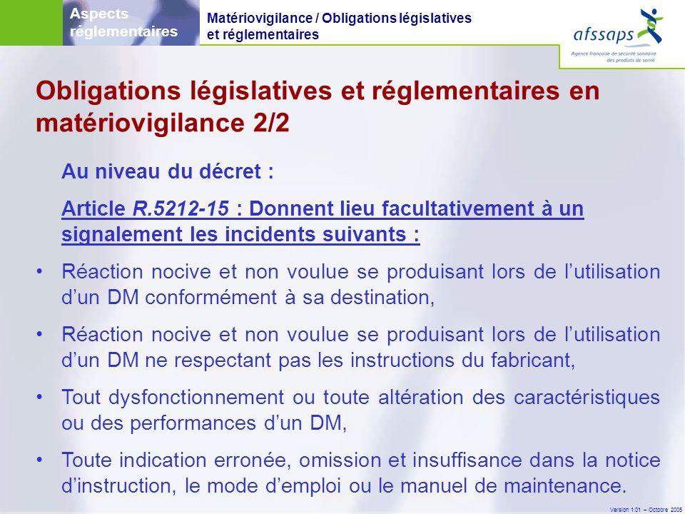 Obligations législatives et réglementaires en matériovigilance 2/2
