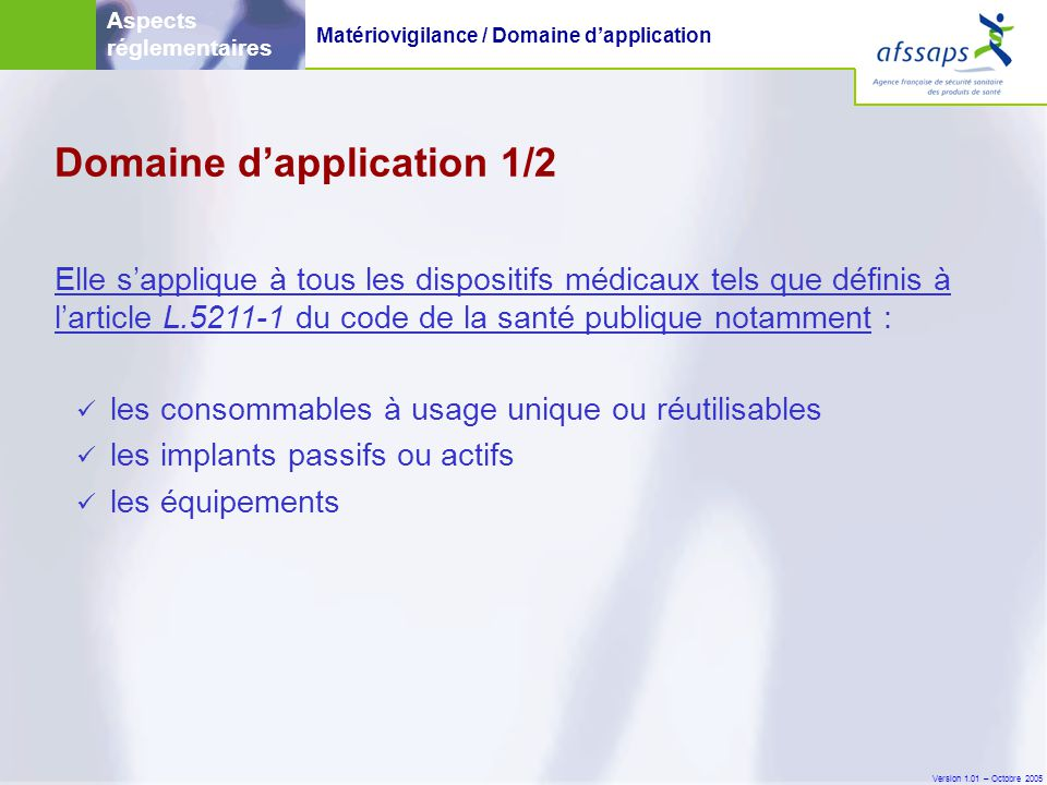 Domaine d'application 1/2