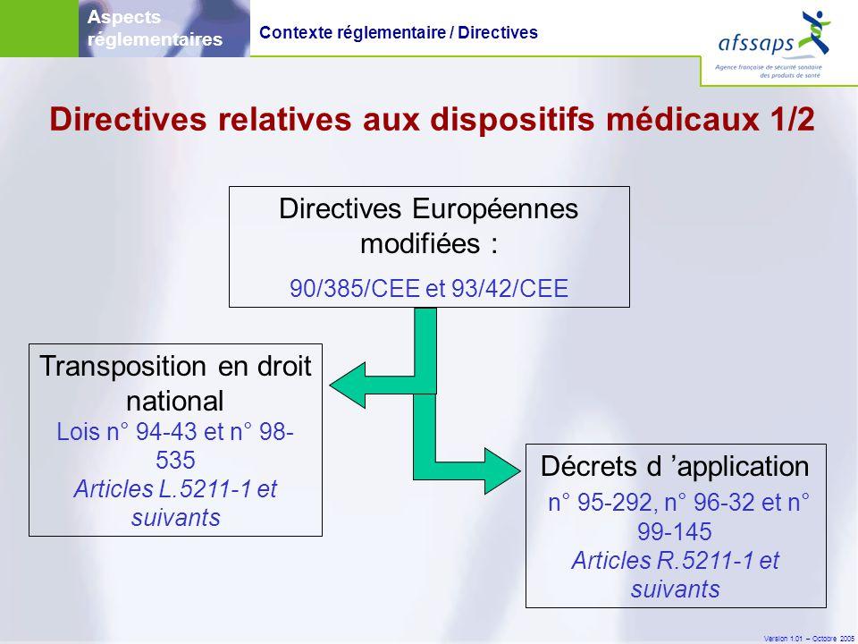 Directives relatives aux dispositifs médicaux 1/2