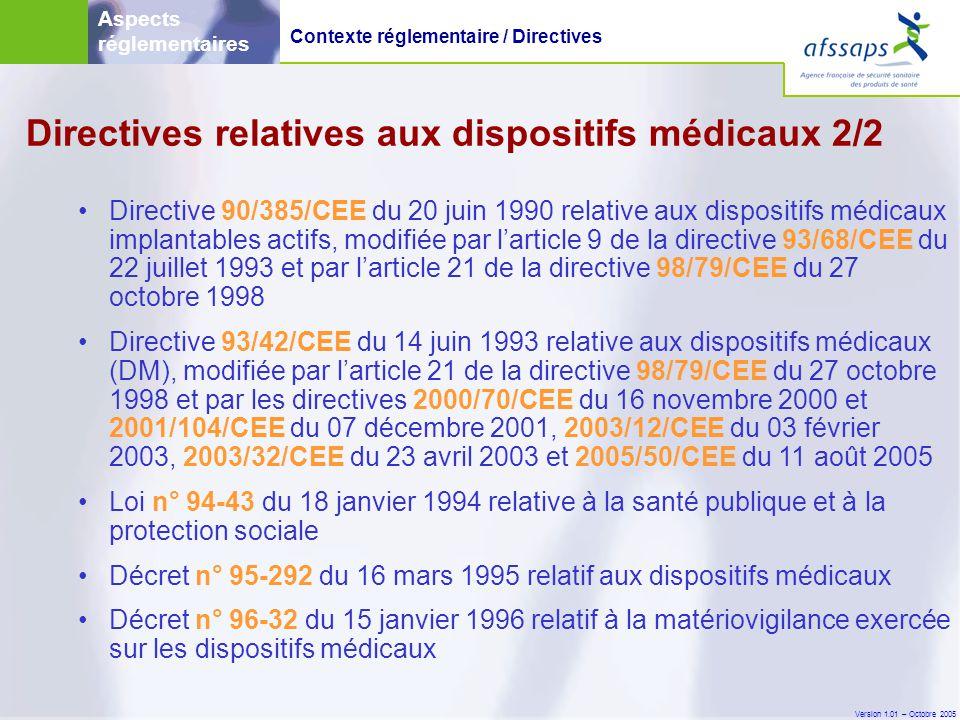 Directives relatives aux dispositifs médicaux 2/2