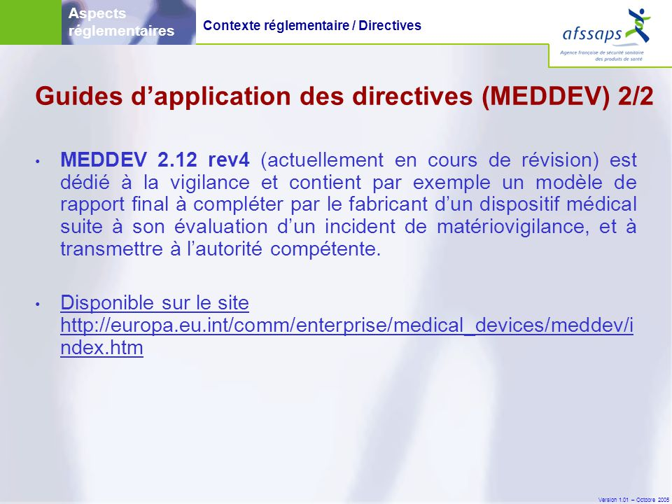 Guides d'application des directives (MEDDEV) 2/2