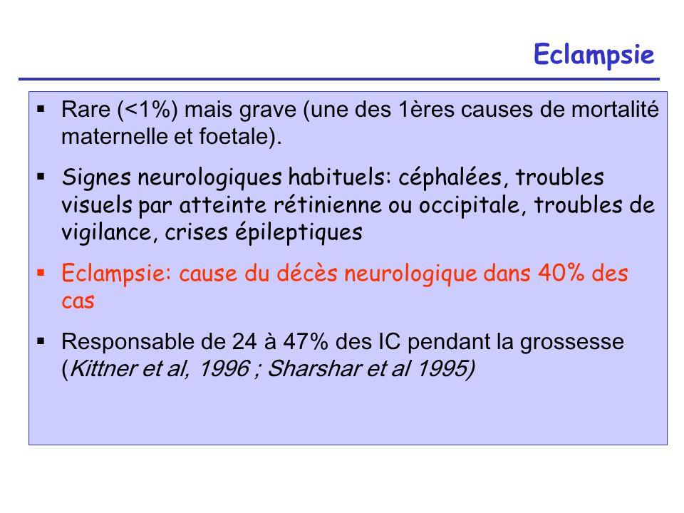 Eclampsie Rare (<1%) mais grave (une des 1ères causes de mortalité maternelle et foetale).