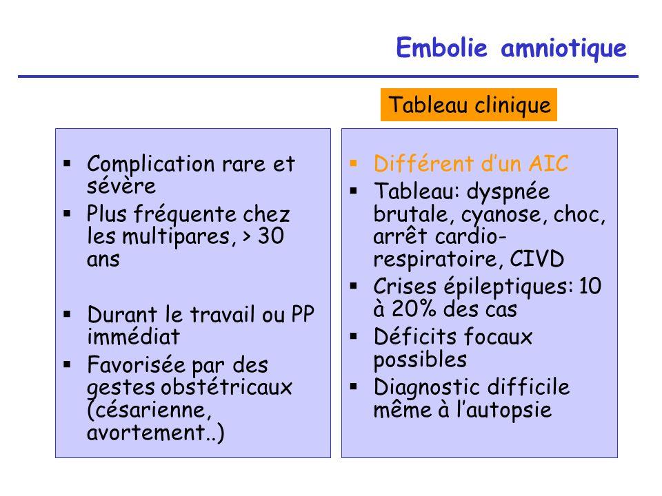 Embolie amniotique Tableau clinique Complication rare et sévère