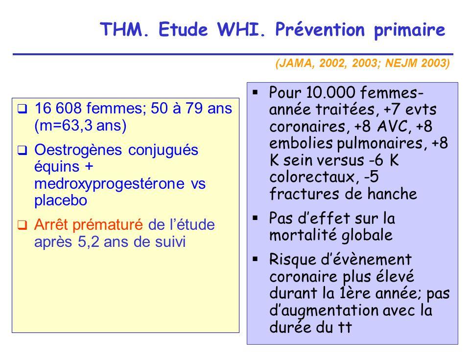 THM. Etude WHI. Prévention primaire
