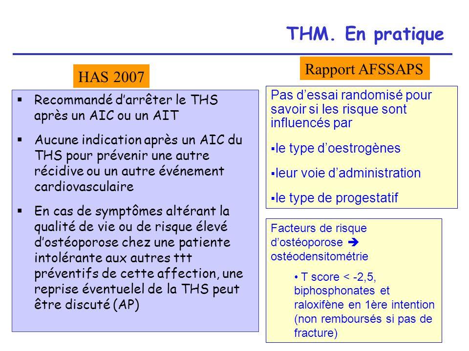 THM. En pratique Rapport AFSSAPS HAS 2007