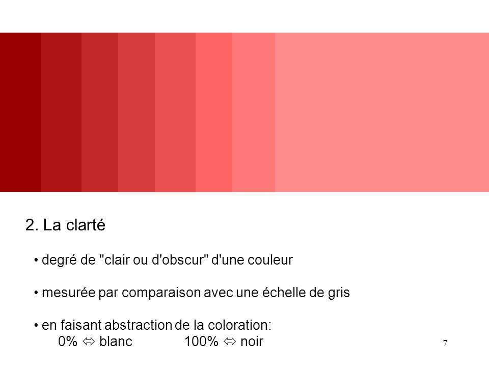 2. La clarté degré de clair ou d obscur d une couleur