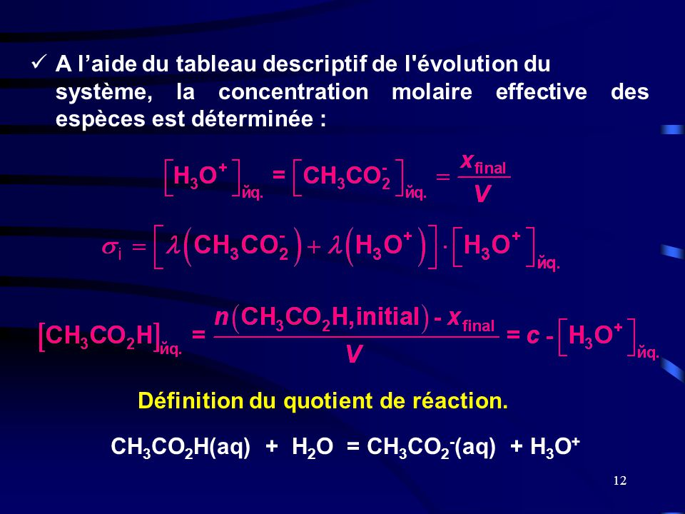 Définition du quotient de réaction.