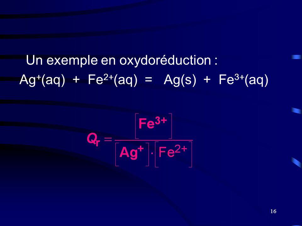 Un exemple en oxydoréduction :