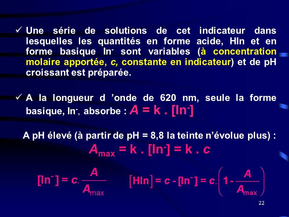 Une série de solutions de cet indicateur dans lesquelles les quantités en forme acide, HIn et en forme basique In- sont variables (à concentration molaire apportée, c, constante en indicateur) et de pH croissant est préparée.