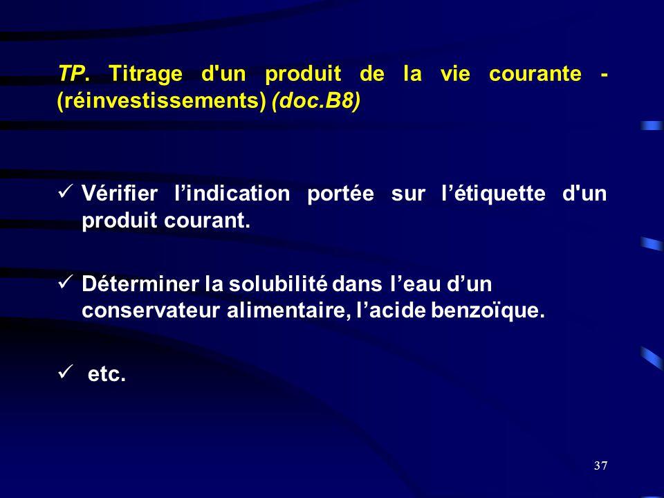 TP. Titrage d un produit de la vie courante - (réinvestissements) (doc
