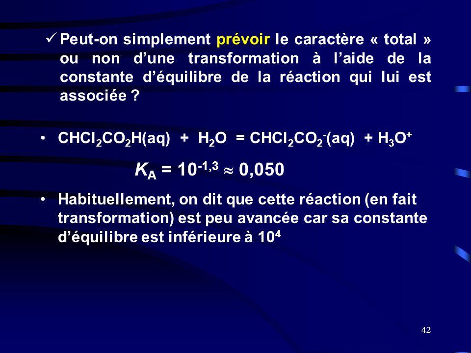 Peut-on simplement prévoir le caractère « total » ou non d'une transformation à l'aide de la constante d'équilibre de la réaction qui lui est associée