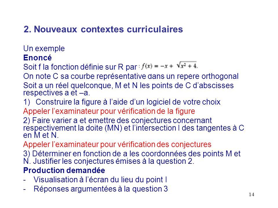 2. Nouveaux contextes curriculaires