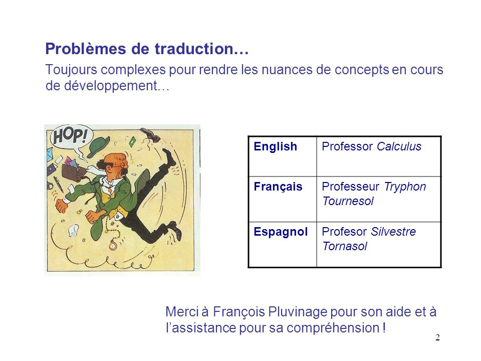 Problèmes de traduction…